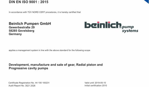 Beinlich successfully passes the audit for the new quality management system ISO 9001:2015